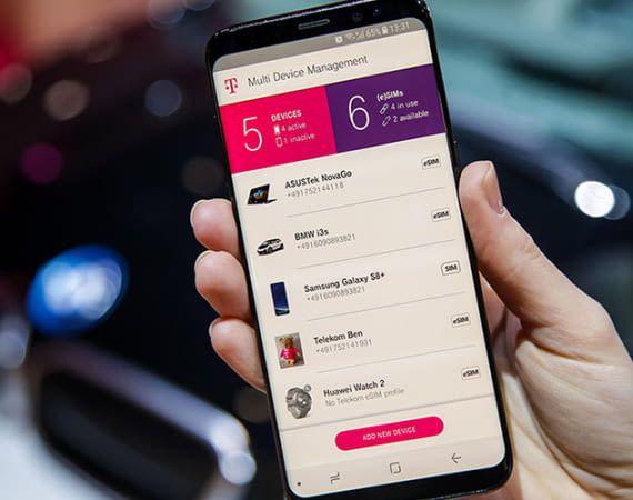 Mit der MDM App der Telekom lassen sich eSIM-Geräte verwalten, die mit dem gleichen Tarifprofil verbunden sind.