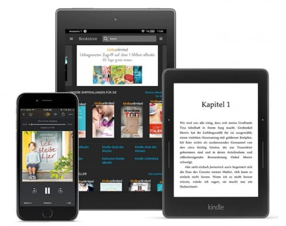 Kindle Unlimited-Inhalte auf Kindle oder per Kindle-App auf Smartphone und Tablet abrufen