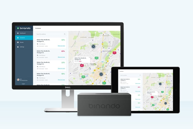 Binando basiert auf Sensoren für die Füllstanderkennung bei Müllcontainern und einer Navigationssoftware