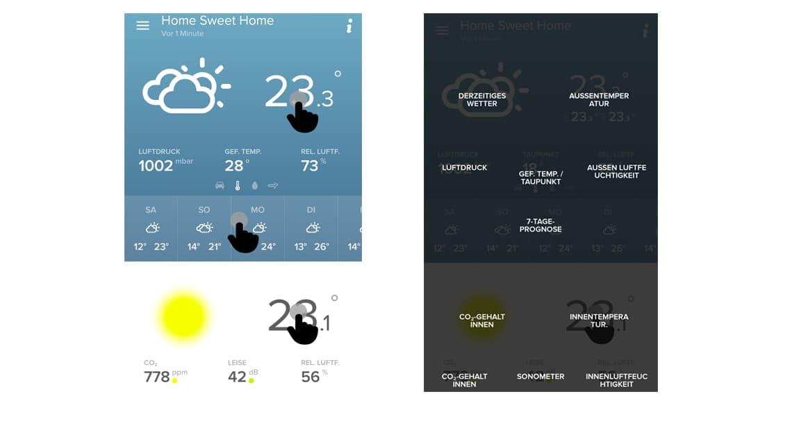 Hilfefunktion: Die Hintergrundebene der Netatmo-App