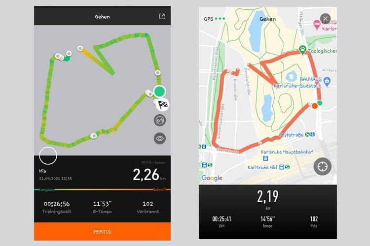 In der App zum Xiaomi Mi Band 5 gibt es viele Auswertungen, z.B. die visuelle Darstellung des GPS-Trackings