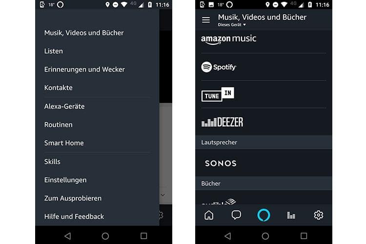 Über das Hauptmenü in der Alexa-App gelangt man zu den verfügbaren Streaming-Diensten