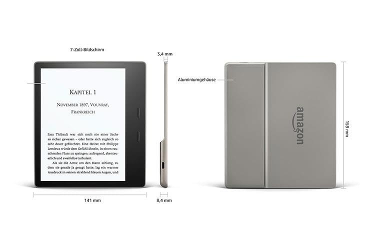 Amazon Kindle Oasis bietet ein 7 Zoll Display, weshalb sich das Gerät für Leser eignet, die große Schrift bevorzugen