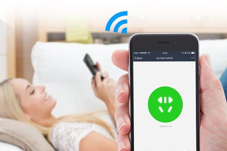 Der Esolom-Zwischenstecker lässt sich per App oder per Sprachbefehl steuern