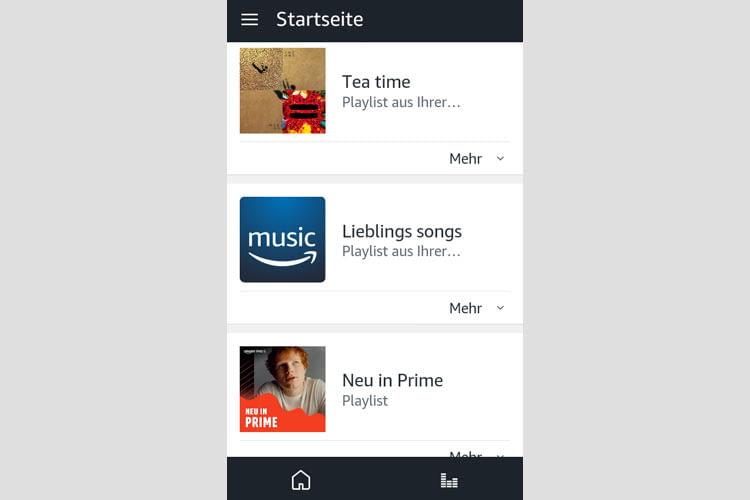 Auch über die Startseite der Alexa App lassen sich zuletzt aufgerufene Playlisten einsehen