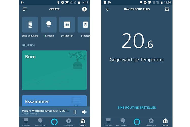 Links: das Geräte-Menü in der Alexa App. Rechts: Temperaturanzeige in der Alexa App