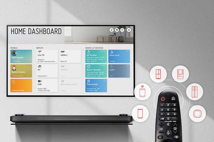 LG bietet bei Smart TV Modellen ein Dashboard an, das auch Auskunft über im Smart Home angeschlossene Geräte gibt