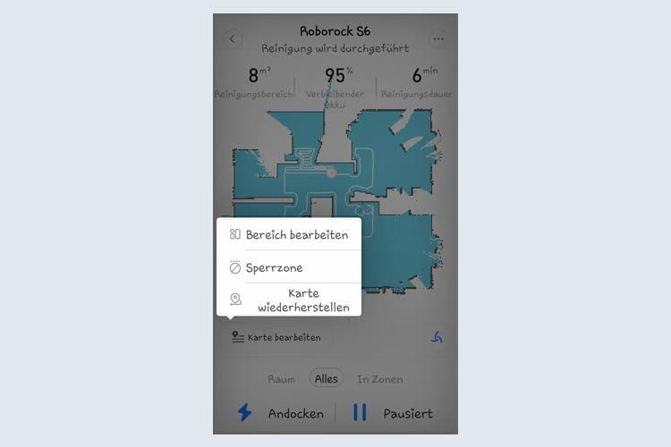 Bei vielen Roboter Apps lässt sich mit wenigen Klicks eine Sperrzone bestimmen