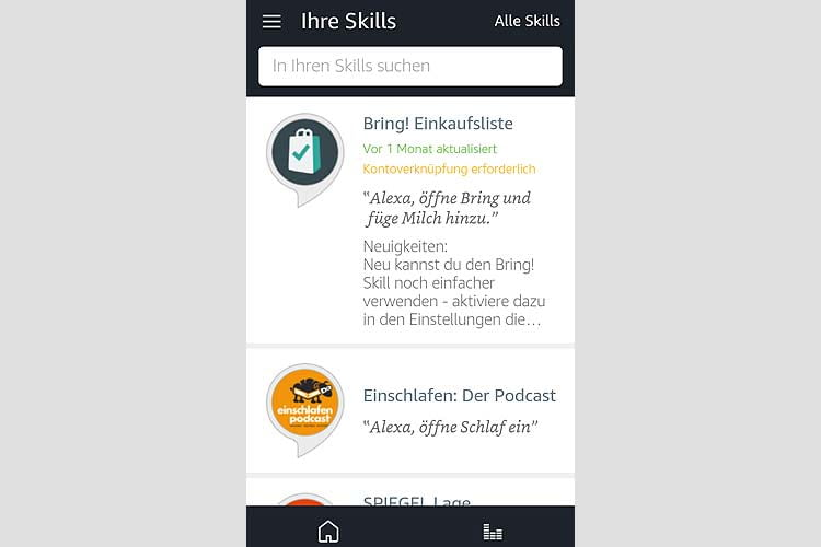 Alle aktivierten Skills sind in der Alexa App einsehbar