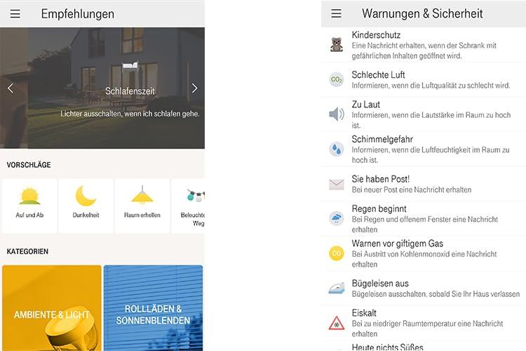 Die Magenta SmartHome App ermöglicht neben der Fernbedienung auch Situationen