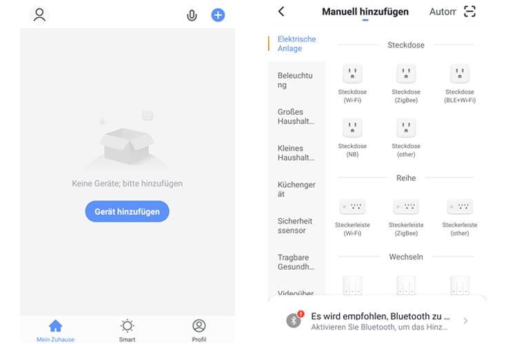 In der Smart Life App können Nutzer Geräte entweder manuell, automatisch oder per QR-Code integrieren