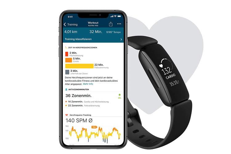 Mit dem Fitbit Inspire 2 Fitness-Armband lassen sich zahlreiche Werte tracken und auswerten