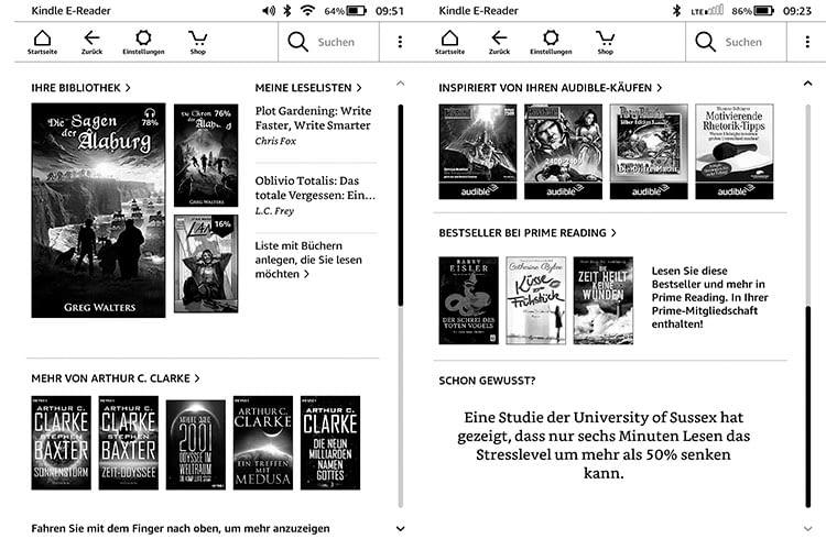 Der Startbildschirm des Kindle Paperwhite 2018 gibt Lese-Empfehlungen