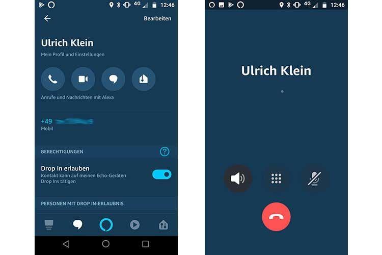 Über die Kontaktliste lassen sich via Alexa-App die Kommunikationsfunktionen nutzen