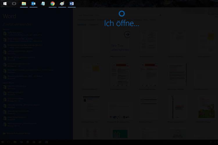 Cortana öffnet auf Sprachbefehl hin Office-Dienste wie Word