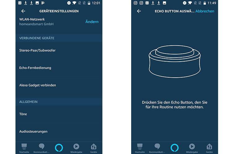 """Nutzer können mit """"Alexa Gadget verbinden"""" und Drücken des Echo Buttons eine Routine zuweisen"""
