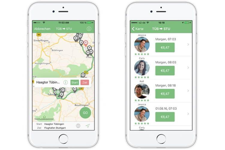 Die MatchRiderGO-App zeigt an, welche Strecken angeboten werden und listet die Fahrten übersichtlich auf