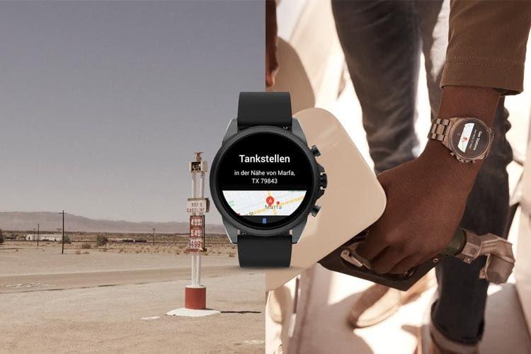 Auf Wunsch verrät die smarte Uhr sogar, wo die nächste Tankstelle ist