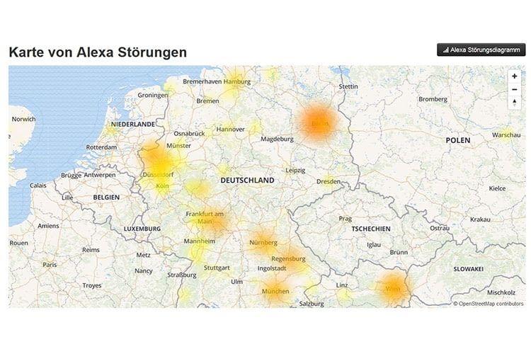 Die Amazon Alexa Störungskarte zeigt an, wo es gerade Probleme gibt