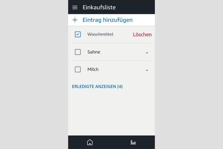 Alexa Einkaufslisten sind über die Alexa App jederzeit einseh- und änderbar