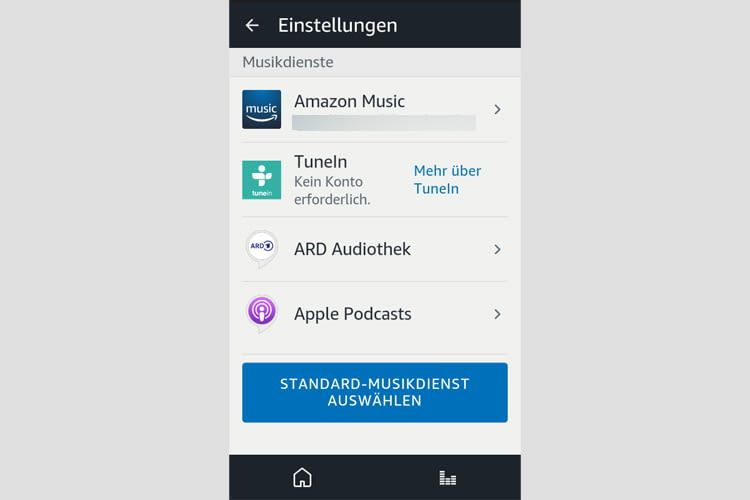 Unser Screenshot zeigt einige der Auswahlmöglichkeiten innerhalb der Alexa App