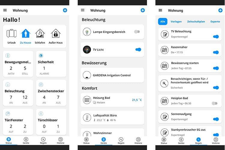 Die Steuerung des SMART HOME by hornbach Systems erfolgt über eine intuitiv zu bedienende Smartphone App