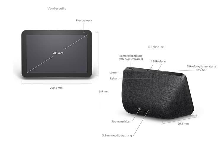 Amazon Echo Show 8 verfügt über eine sehr gute Ausstattung - allerdings ist die Cam mit 1 MP etwas schwach