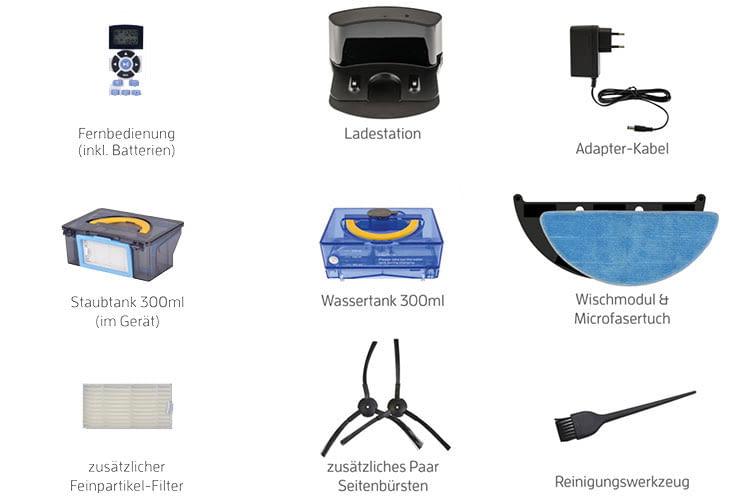 Lieferumfang und beigepacktes Zubehör sind beim ZACO V5sPro Saugroboter mit Wischfunktion vorbildlich
