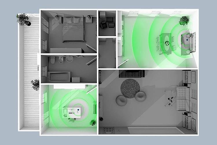 In einer Multiroom-Umgebung spielen mehrere Amazon Echos den gleichen Musikstream