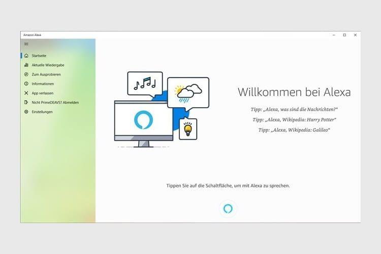 Sogar bei der Alexa-Nutzung mit Windows 10 werden die Funktionen übersichtlich dargestellt