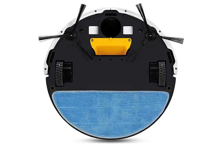 ZACO V5sPro mit Wischmob. Leider verfügt der Saugroboter mit Wischfunktion über keine Haupt-Rollbürste