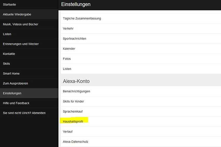 Neue Haushaltsprofile lassen sich in der Alexa-Web-Applikation hinzufügen