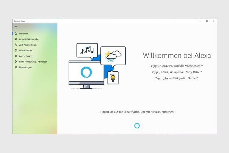 Auch bei der Alexa-Nutzung mit Windows 10 gibt es eine übersichtliche Kategorisierung der Funktionen