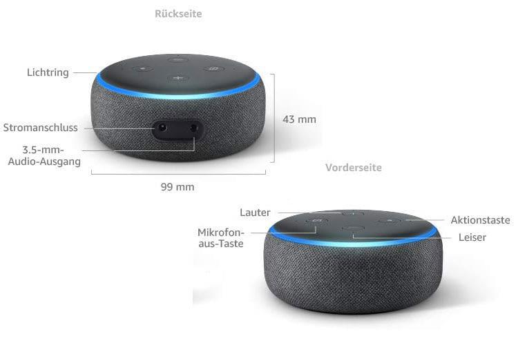 Trotz der geringen Größe liefert der Amazon Echo Dot 3 volumigen Sound ab