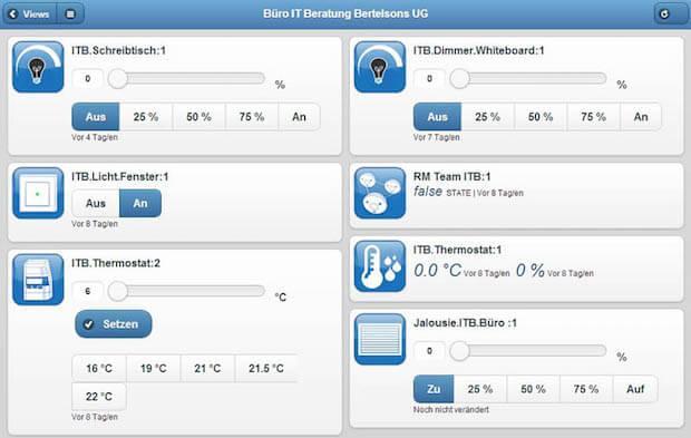 Abbildung des Cloudmatic Smarthome Webinterfaces