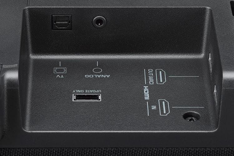 Vorbildlich: Yamaha YAS-207 bietet gleich zwei HDMI-Anschlüsse (rechts)