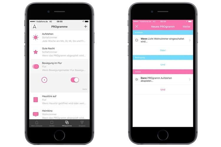 Mit PROgrammen lassen sich in der App etwa Wenn-Dann-Regelungen-einrichten