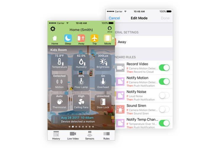 Über die Toshiba Symbio-App können Regeln für die Smart Home-Sensoren erstellt werden