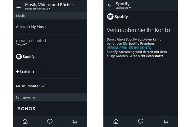 Spotify in der Alexa-App auswählen und Konto verknüpfen