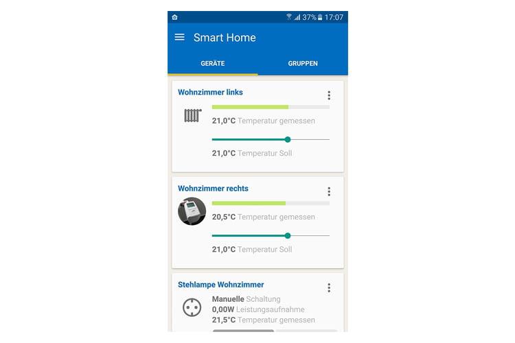 Mit der Smartphone App lassen sich alle Thermostate übersichtlich steuern