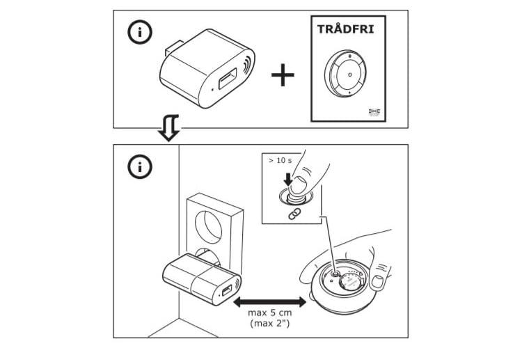 Zur Koppelung der einzelnen Komponenten muss der Zuordnungsknopf freigelegt werden