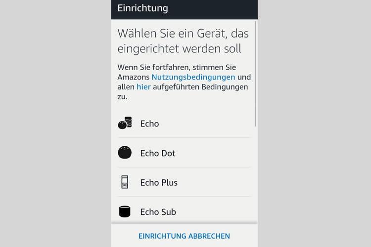 Klicken Sie in der App auf das Modell, das sie installieren möchten