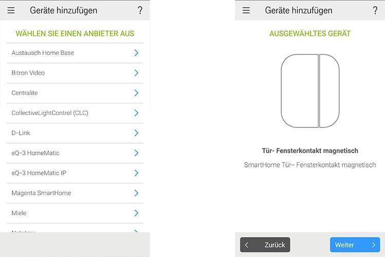 Das Einbinden der Geräte erfolgt über die Magenta SmartHome App