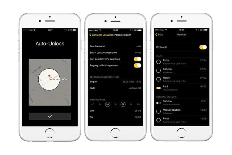 Die Nuki App ermöglicht Auto Unlock, Lock'n'Go und die Verwaltung von bis zu 200 Zutrittsberechtigungen