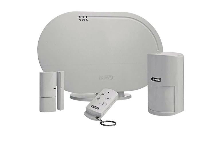 Das ABUS Smartvest Basis Sicherheitsset enthält die smarte Sicherheitszentrale, Bewegungsmelder, Remote und Tür-/Fensterkontakt