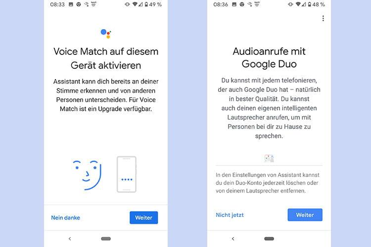 Während des Installationsprozesses lassen sich die Stimmidentifizierungs- und Google Duo-Funktionen für Google Home Nest aktivieren