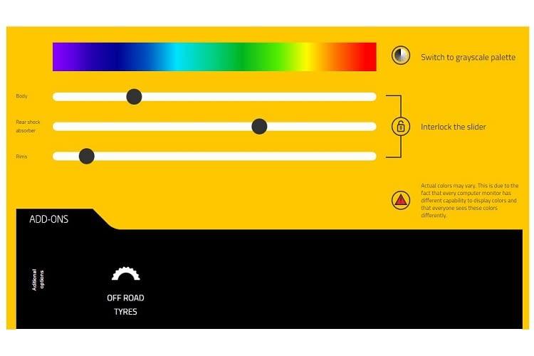 Farbpalette zur individuellen Gestaltung des smarten E-Bikes.