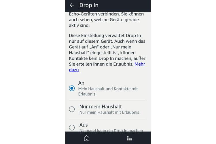 Für jedes Echo Gerät kann die Drop-In Berechtigung einzeln vergeben werden