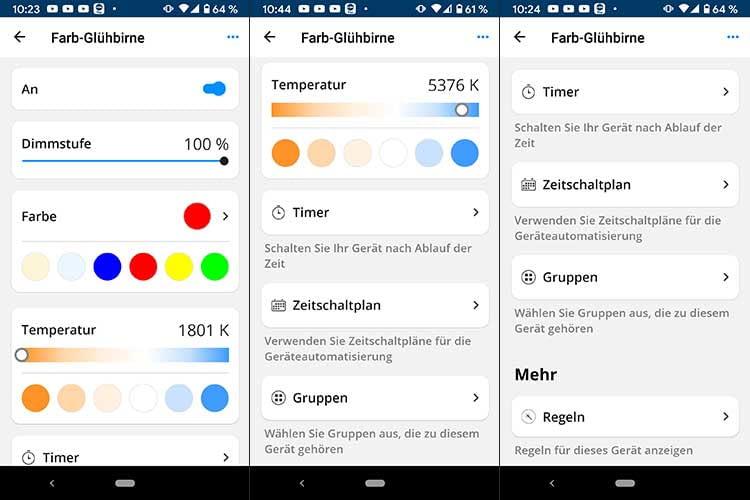In der SMART HOME by hornbach App können Nutzerfür die FLAIR VIYU Smart LED Lampe Regeln, Zeitschaltpläne und Timer erstellen