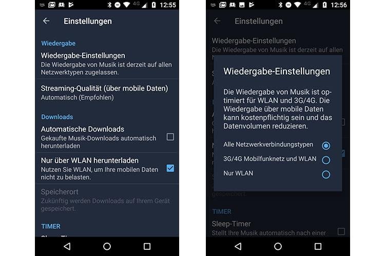 In der Amazon Music App lassen sich Wiedergabe-Einstellungen vornehmen